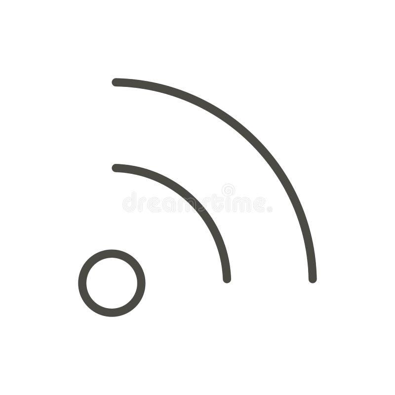 Vetor do ícone do RSS Linha símbolo do blogue isolado Projeto liso na moda do sinal do ui do esboço Gráfico linear fino ilustração royalty free