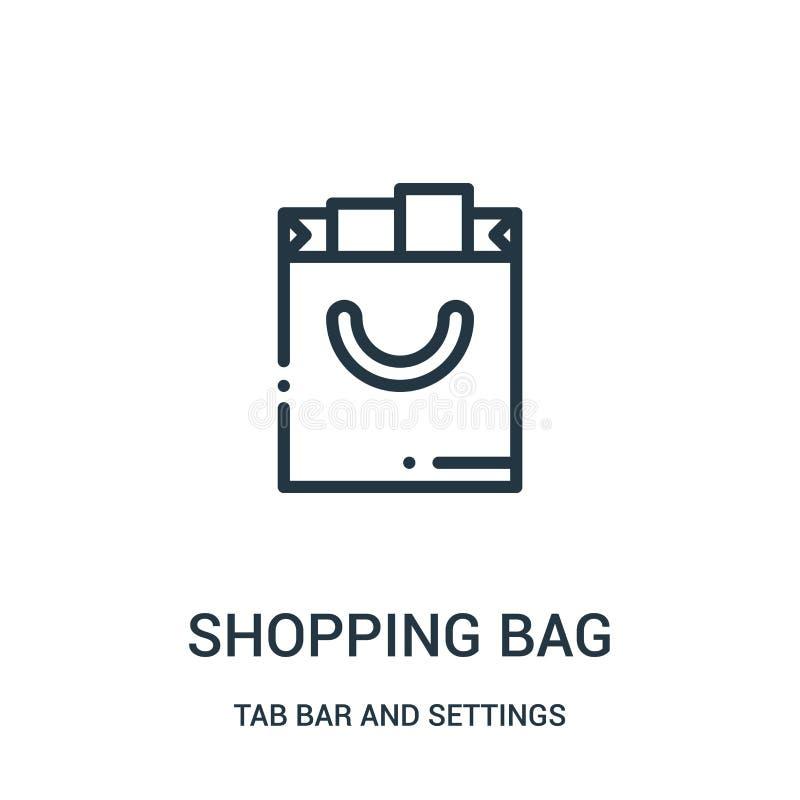 vetor do ícone do saco de compras da barra da aba e da coleção dos ajustes Linha fina ilustração do vetor do ícone do esboço do s ilustração stock