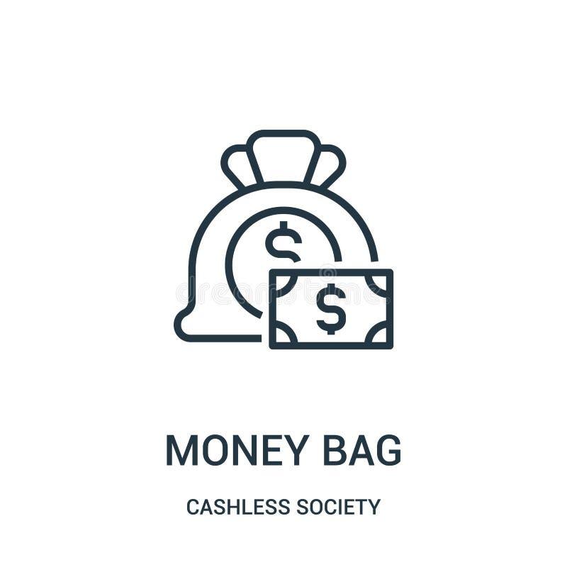 vetor do ícone do saco do dinheiro da coleção cashless da sociedade Linha fina ilustração do vetor do ícone do esboço do saco do  ilustração stock