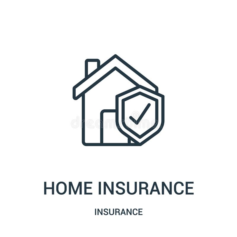 vetor do ícone do seguro da casa da coleção do seguro Linha fina ilustração do vetor do ícone do esboço do seguro da casa S?mbolo ilustração stock