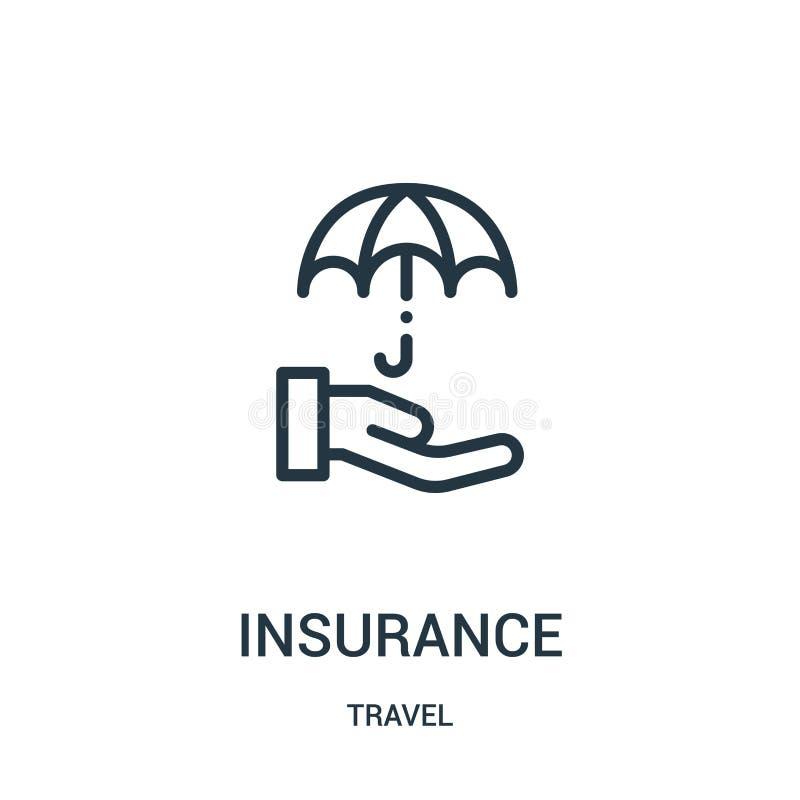 vetor do ícone do seguro da coleção do curso Linha fina ilustração do vetor do ícone do esboço do seguro Símbolo linear para o us ilustração stock