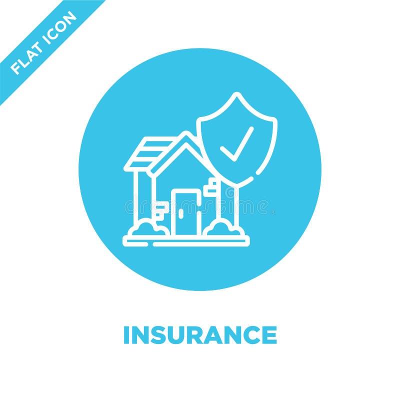 vetor do ícone do seguro da coleção esperta da casa Linha fina ilustração do vetor do ícone do esboço do seguro Símbolo linear pa ilustração royalty free