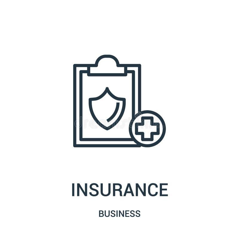vetor do ícone do seguro da coleção do negócio Linha fina ilustração do vetor do ícone do esboço do seguro Símbolo linear para o  ilustração stock