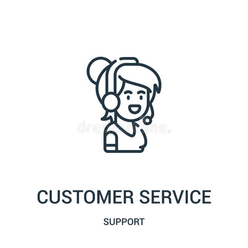 vetor do ícone do serviço ao cliente da coleção do apoio Linha fina ilustração do vetor do ícone do esboço do serviço ao cliente  ilustração royalty free