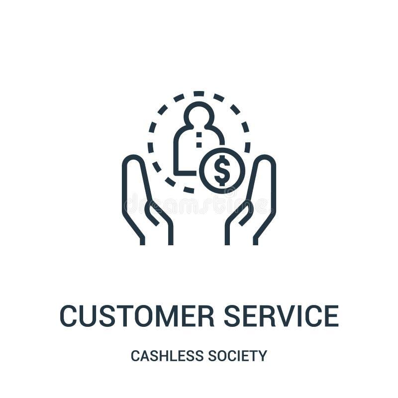 vetor do ícone do serviço ao cliente da coleção cashless da sociedade Linha fina ilustra??o do vetor do ?cone do esbo?o do servi? ilustração stock