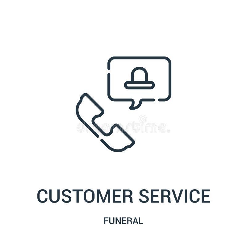 vetor do ícone do serviço ao cliente da coleção fúnebre Linha fina ilustração do vetor do ícone do esboço do serviço ao cliente S ilustração royalty free