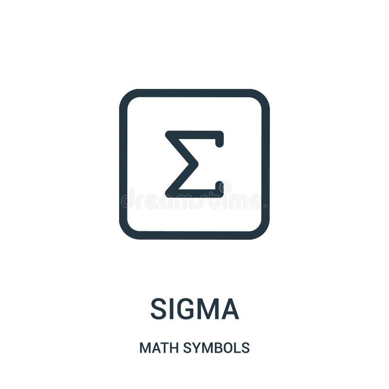 vetor do ícone do sigma da coleção dos símbolos da matemática Linha fina ilustração do vetor do ícone do esboço do sigma ilustração royalty free
