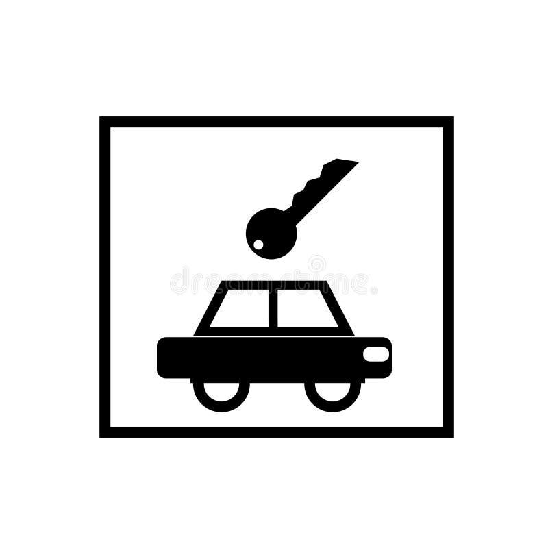 Vetor do ícone do sinal do aluguer de carros isolado no fundo branco, sinal do sinal do aluguer de carros ilustração do vetor
