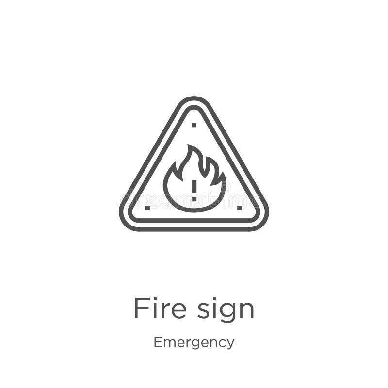 vetor do ícone do sinal do fogo da coleção da emergência Linha fina ilustração do vetor do ícone do esboço do sinal do fogo Esboç ilustração do vetor