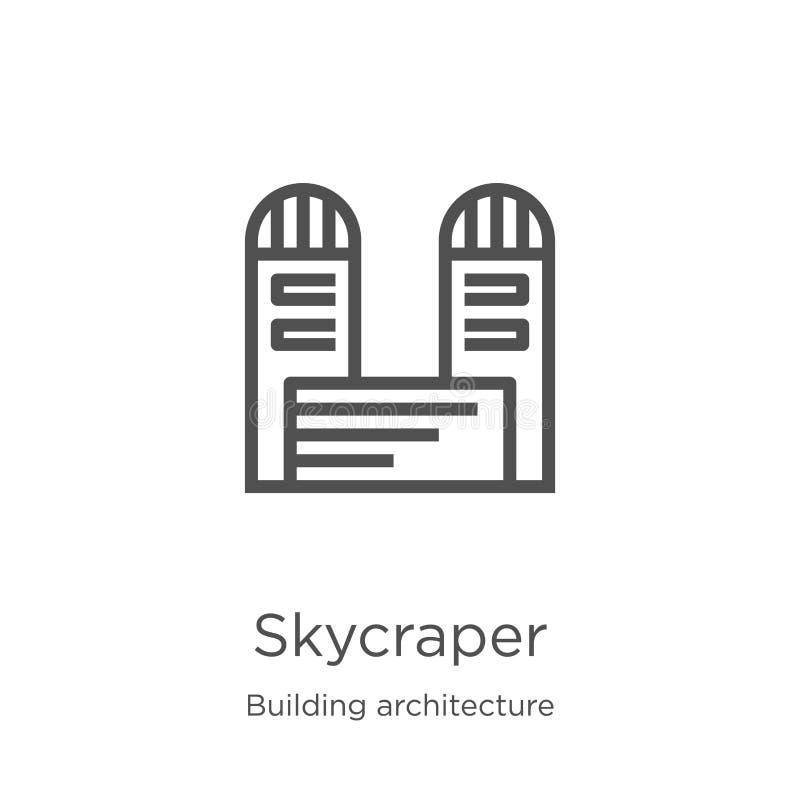 vetor do ícone do skycraper da coleção da arquitetura da construção Linha fina ilustração do vetor do ícone do esboço do skycrape ilustração royalty free