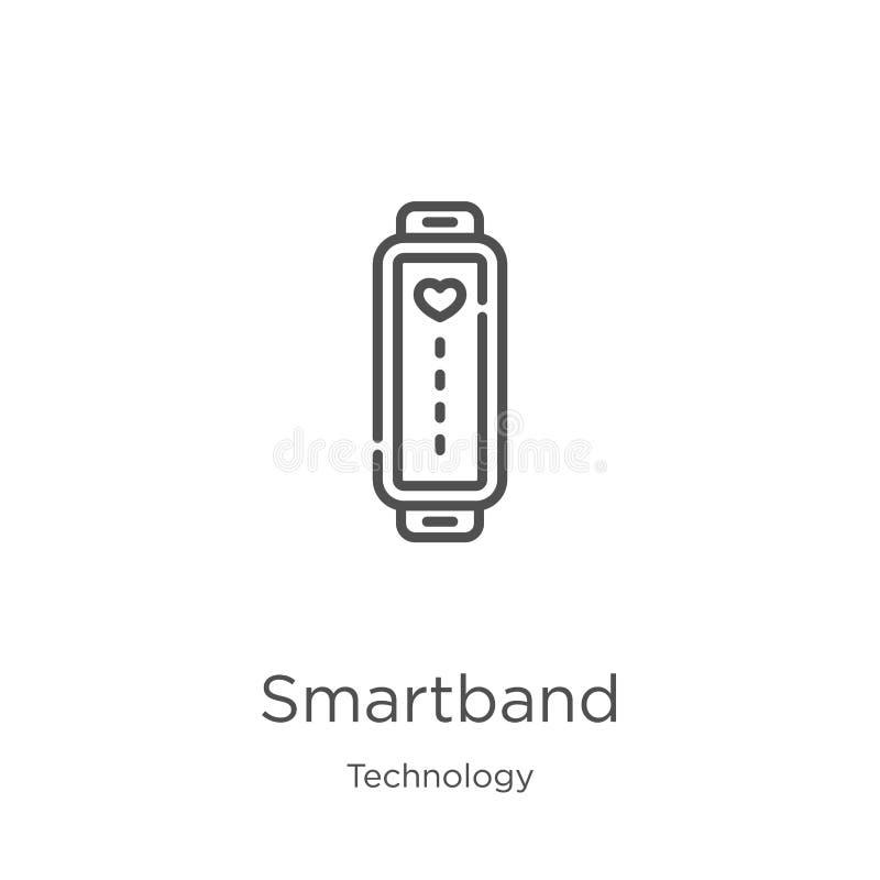 vetor do ícone do smartband da coleção da tecnologia Linha fina ilustração do vetor do ícone do esboço do smartband Esbo?o, linha ilustração stock