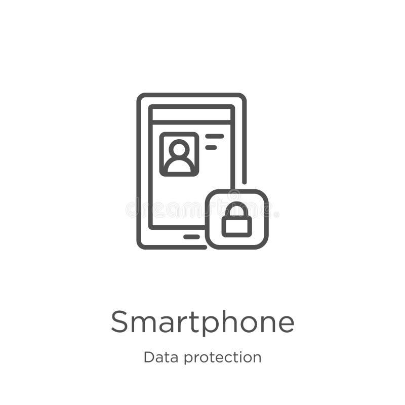 vetor do ícone do smartphone da coleção da proteção de dados Linha fina ilustra??o do vetor do ?cone do esbo?o do smartphone Esbo ilustração stock