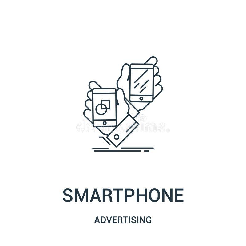 vetor do ícone do smartphone de anunciar a coleção Linha fina ilustração do vetor do ícone do esboço do smartphone Símbolo linear ilustração stock