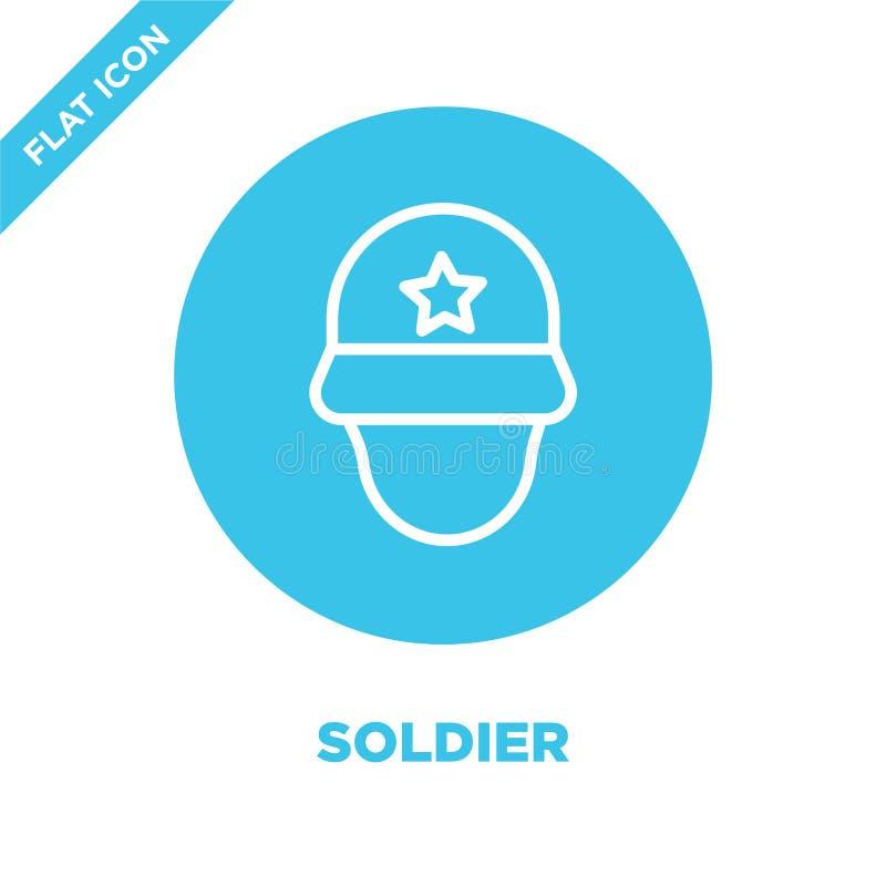 vetor do ícone do soldado da coleção militar Linha fina ilustração do vetor do ícone do esboço do soldado Símbolo linear para o u ilustração stock