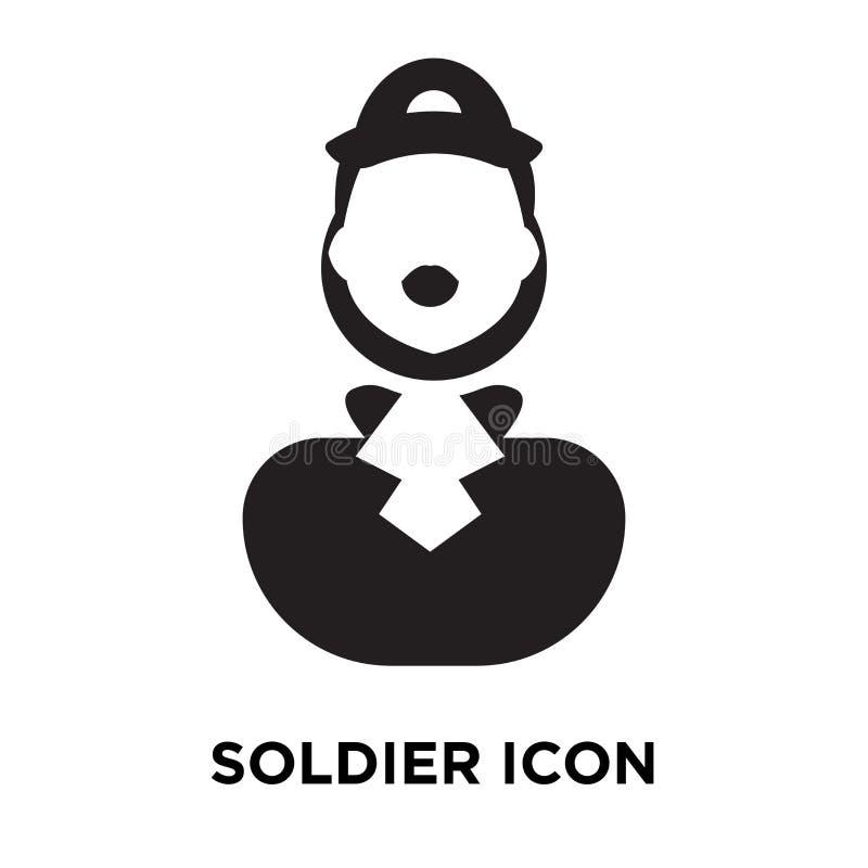Vetor do ícone do soldado isolado no fundo branco, conceito o do logotipo ilustração stock