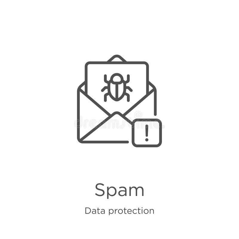 vetor do ícone do Spam da coleção da proteção de dados Linha fina ilustração do vetor do ícone do esboço do Spam Esboço, linha fi ilustração stock