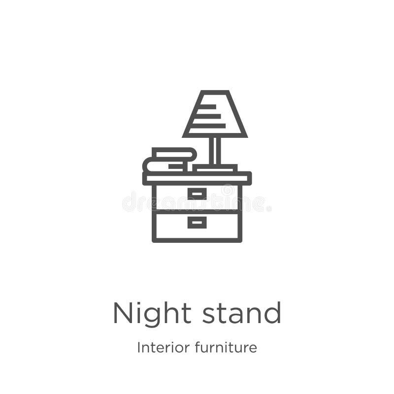 vetor do ícone do suporte da noite da coleção interior da mobília Linha fina ilustração do vetor do ícone do esboço do suporte da ilustração stock