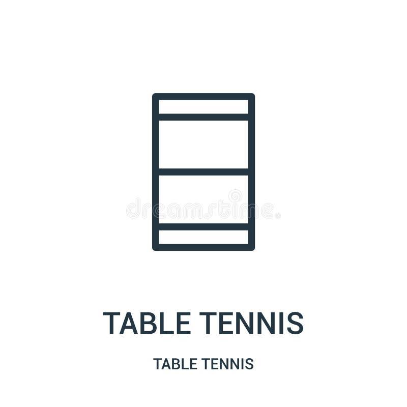 vetor do ícone do tênis de mesa da coleção do tênis de mesa Linha fina ilustração do vetor do ícone do esboço do tênis de mesa r ilustração stock