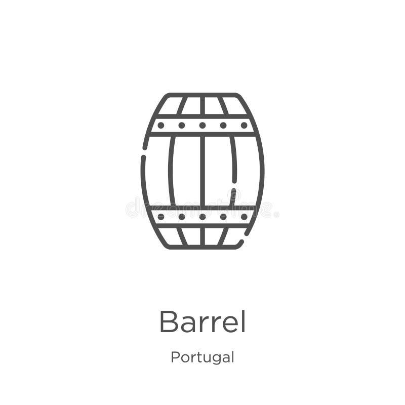 vetor do ícone do tambor da coleção de Portugal Linha fina ilustra??o do vetor do ?cone do esbo?o do tambor Esbo?o, linha fina ?c ilustração royalty free