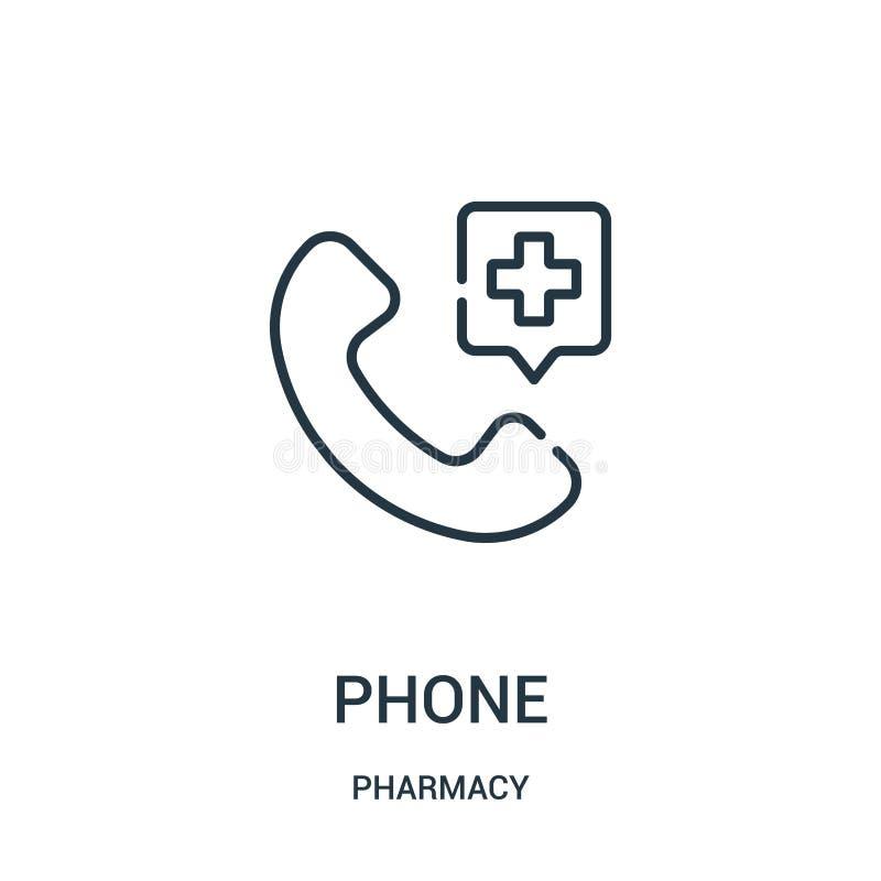 vetor do ícone do telefone da coleção da farmácia Linha fina ilustração do vetor do ícone do esboço do telefone ilustração stock