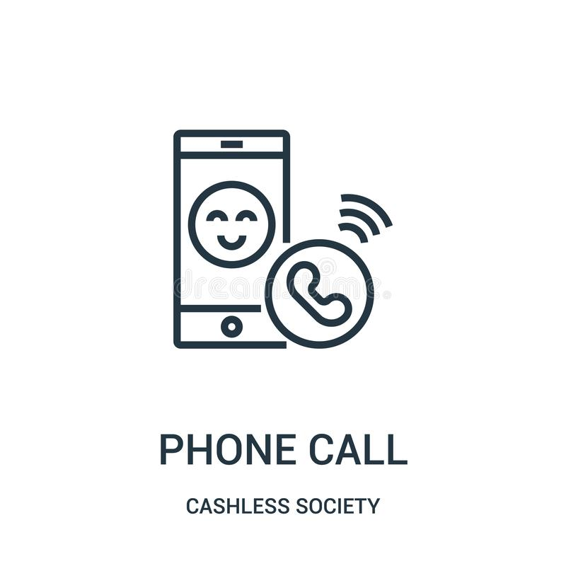 vetor do ícone do telefonema da coleção cashless da sociedade Linha fina ilustração do vetor do ícone do esboço do telefonema ilustração stock