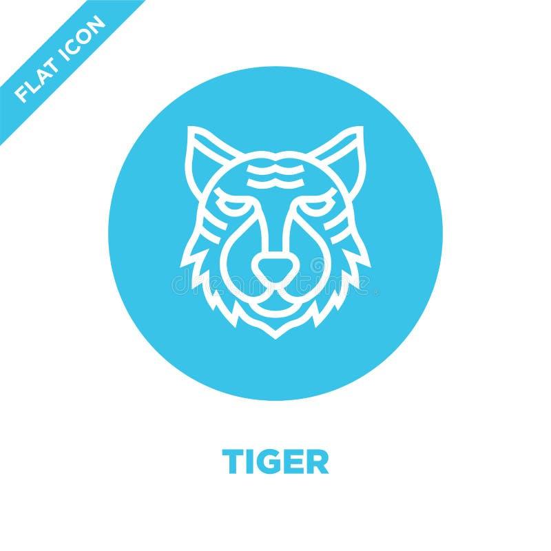 vetor do ícone do tigre da coleção principal animal Linha fina ilustração do vetor do ícone do esboço do tigre Símbolo linear par ilustração royalty free