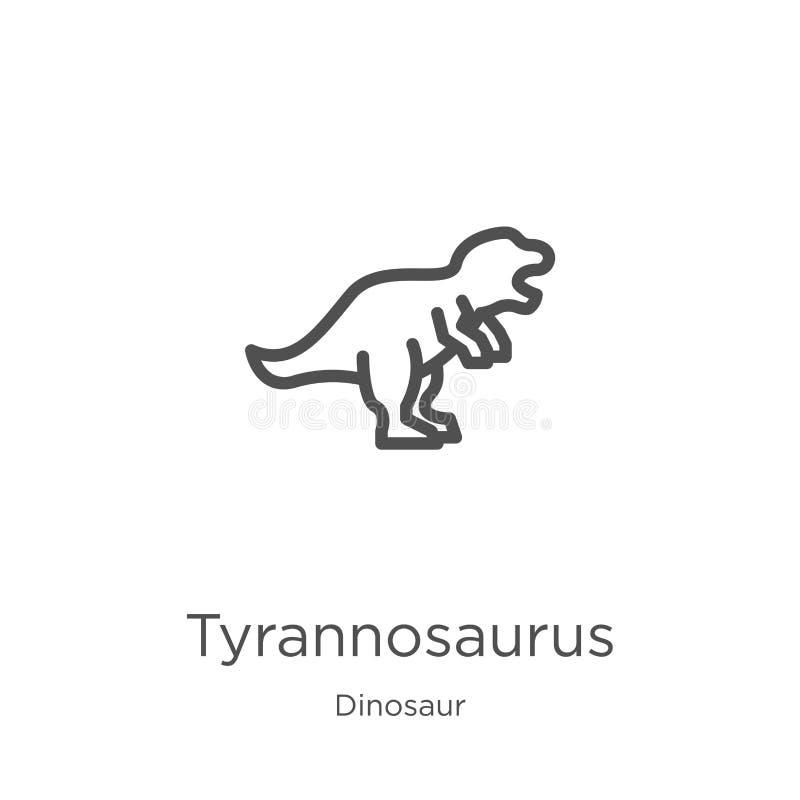vetor do ícone do tiranossauro da coleção do dinossauro Linha fina ilustração do vetor do ícone do esboço do tiranossauro Esbo?o, ilustração stock