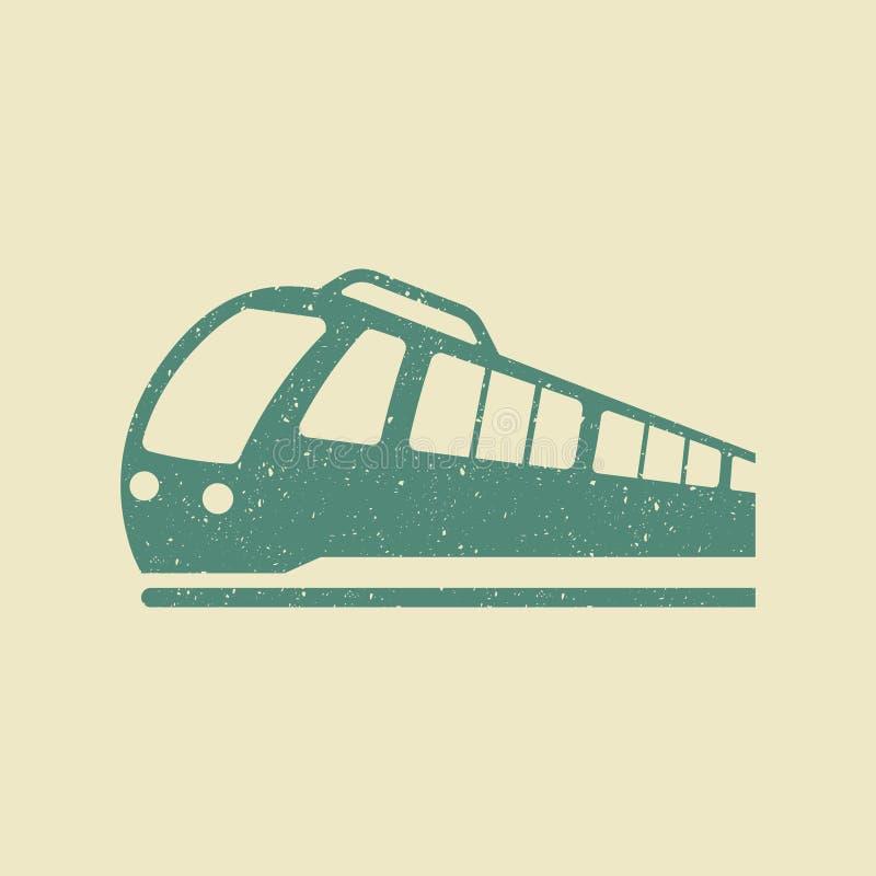 Vetor do ícone do trem no estilo do grunge ilustração stock