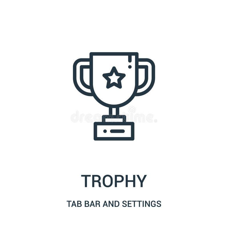 vetor do ícone do troféu da barra da aba e da coleção dos ajustes Linha fina ilustração do vetor do ícone do esboço do troféu ilustração royalty free