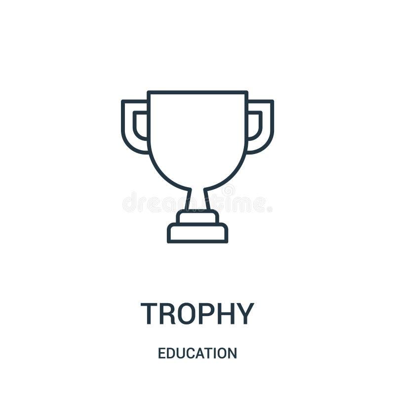 vetor do ícone do troféu da coleção da educação Linha fina ilustração do vetor do ícone do esboço do troféu ilustração do vetor