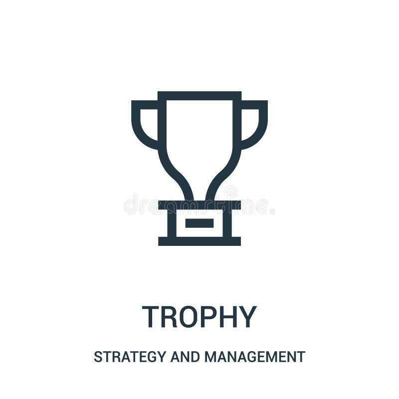 vetor do ícone do troféu da estratégia e da coleção da gestão Linha fina ilustra??o do vetor do ?cone do esbo?o do trof?u ilustração do vetor