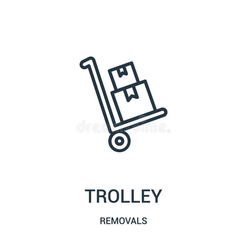 vetor do ícone do trole da coleção das remoções Linha fina ilustração do vetor do ícone do esboço do trole Símbolo linear para o  ilustração royalty free