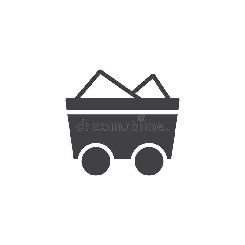 Vetor do ícone do trole de carvão ilustração royalty free