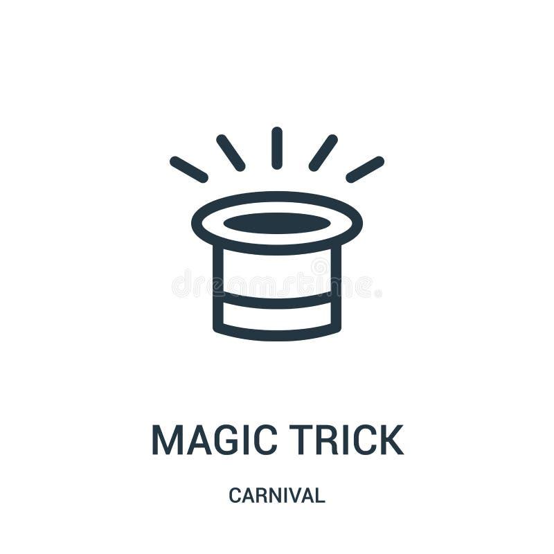 vetor do ícone do truque mágico da coleção do carnaval Linha fina ilustração do vetor do ícone do esboço do truque mágico ilustração royalty free
