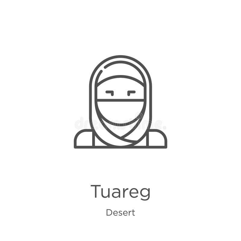 vetor do ícone do tuareg da coleção do deserto Linha fina ilustração do vetor do ícone do esboço do tuareg Esboço, linha fina íco ilustração stock