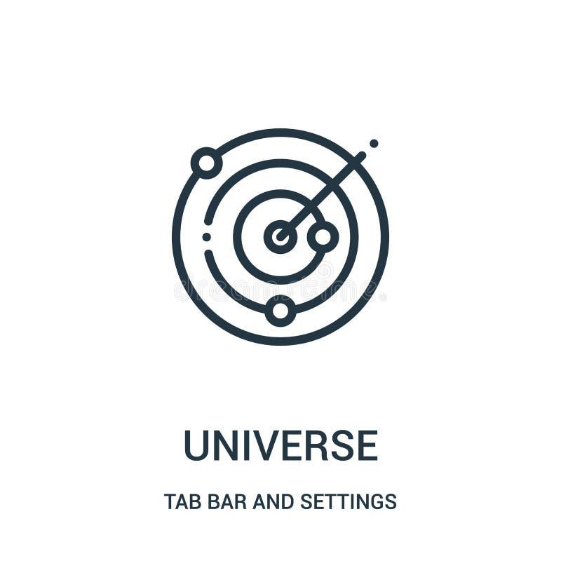 vetor do ícone do universo da barra da aba e da coleção dos ajustes Linha fina ilustração do vetor do ícone do esboço do universo ilustração royalty free