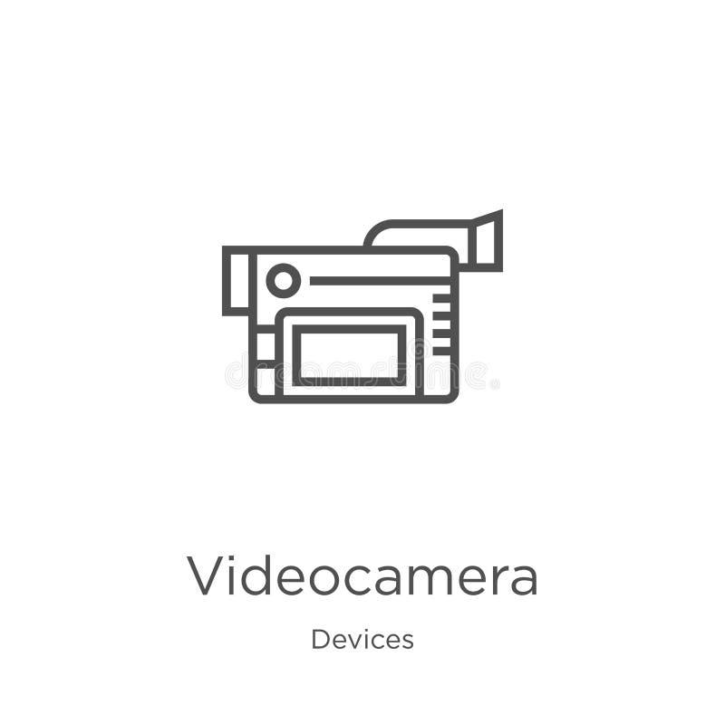 vetor do ícone do vídeo câmera da coleção dos dispositivos Linha fina ilustração do vetor do ícone do esboço do vídeo câmera Esbo ilustração royalty free