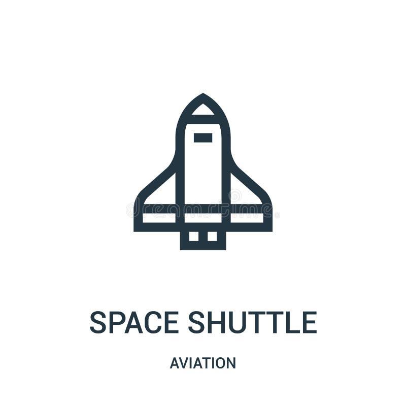 vetor do ícone do vaivém espacial da coleção da aviação Linha fina ilustração do vetor do ícone do esboço do vaivém espacial r ilustração do vetor