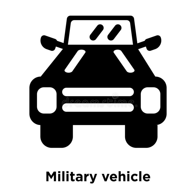 Vetor do ícone do veículo militar isolado no fundo branco, logotipo ilustração stock