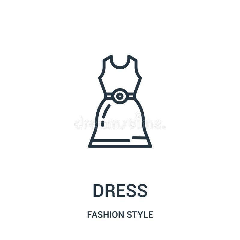 vetor do ícone do vestido da coleção do estilo da forma Linha fina ilustração do vetor do ícone do esboço do vestido ilustração stock