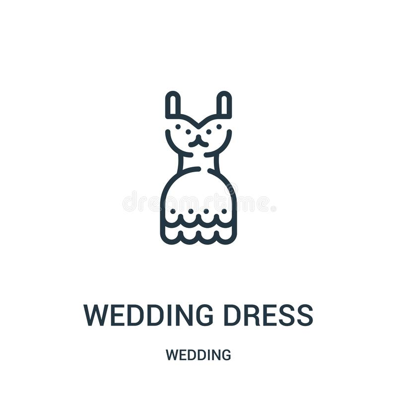 vetor do ícone do vestido de casamento da coleção do casamento Linha fina ilustração do vetor do ícone do esboço do vestido de ca ilustração stock