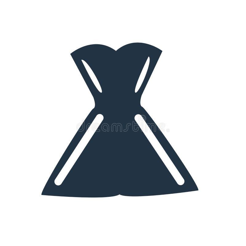 Vetor do ícone do vestido isolado no fundo branco, sinal do vestido ilustração stock