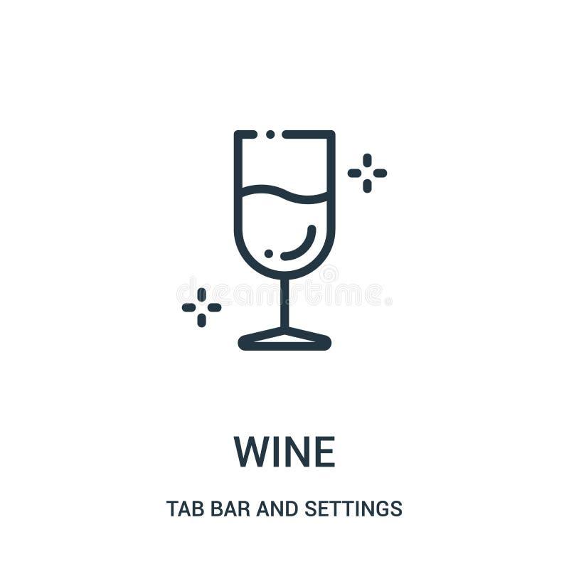vetor do ícone do vinho da barra da aba e da coleção dos ajustes Linha fina ilustra??o do vetor do ?cone do esbo?o do vinho ilustração do vetor