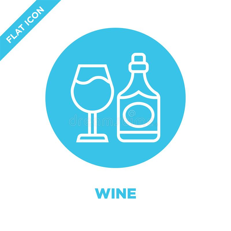 vetor do ícone do vinho da coleção da bebida Linha fina ilustração do vetor do ícone do esboço do vinho Símbolo linear para o uso ilustração do vetor