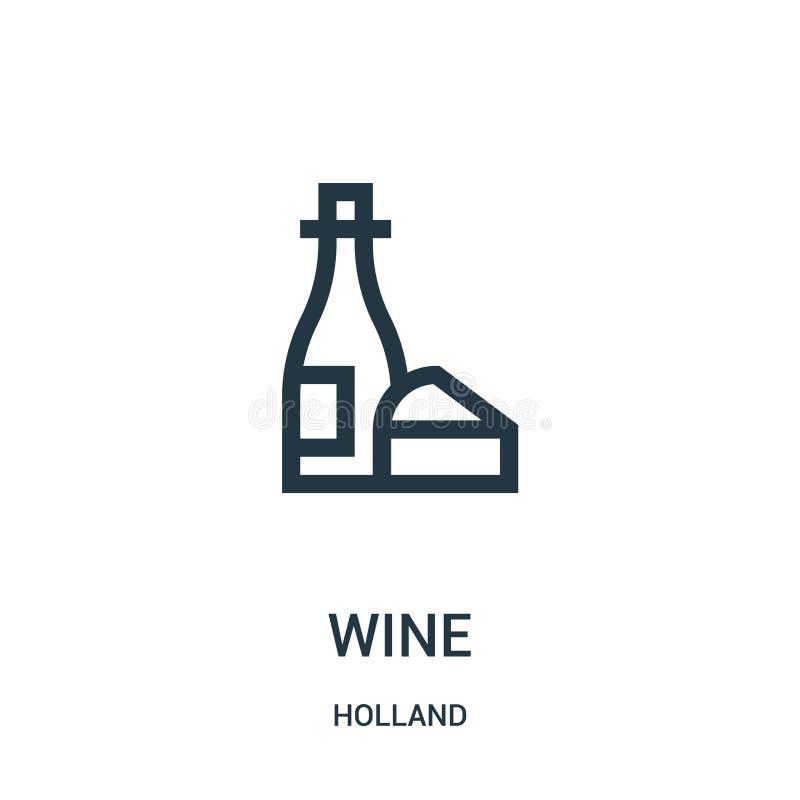 vetor do ícone do vinho da coleção de holland Linha fina ilustração do vetor do ícone do esboço do vinho Símbolo linear para o us ilustração royalty free