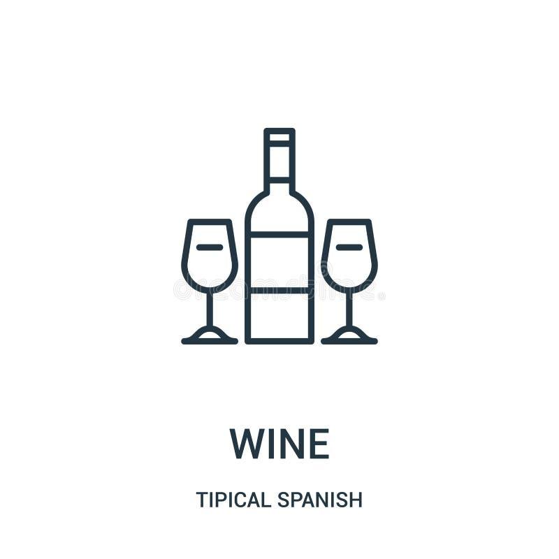 vetor do ícone do vinho da coleção espanhola tipical Linha fina ilustração do vetor do ícone do esboço do vinho Símbolo linear pa ilustração stock