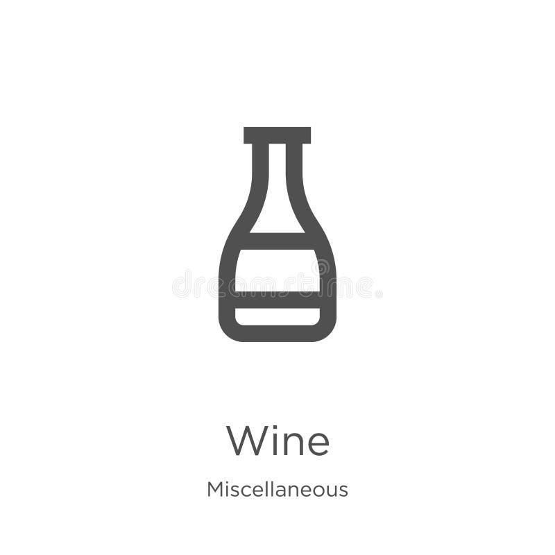 vetor do ícone do vinho da coleção variada Linha fina ilustração do vetor do ícone do esboço do vinho Esboço, linha fina ícone do ilustração royalty free