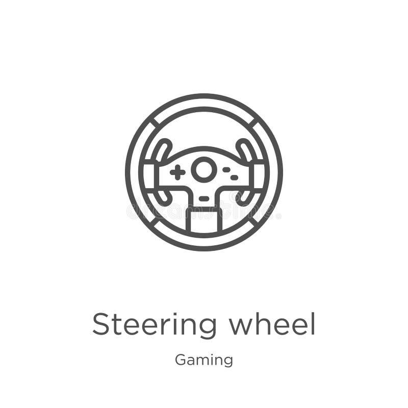 vetor do ícone do volante da coleção do jogo Linha fina ilustração do vetor do ícone do esboço do volante Esbo?o, linha fina ilustração stock