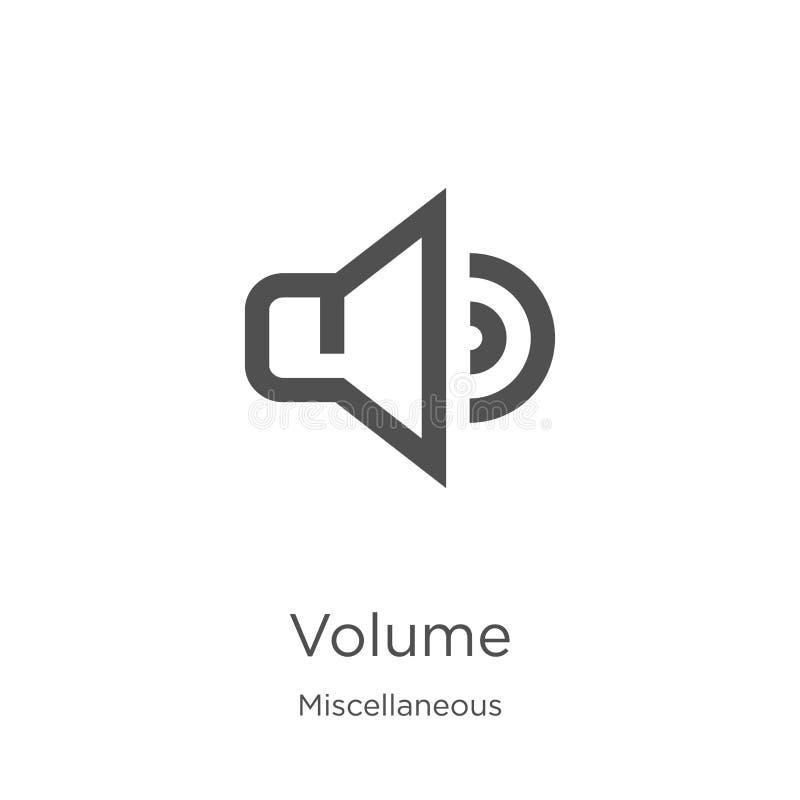 vetor do ícone do volume da coleção variada Linha fina ilustra??o do vetor do ?cone do esbo?o do volume Esboço, linha fina volume ilustração stock