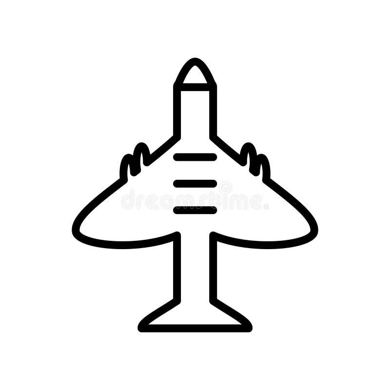 Vetor do ícone do voo do avião isolado no fundo branco, Airpla ilustração stock